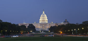 US Capitol at night from the Mall. Focus on capitol dome Royalty Free Stock Photos