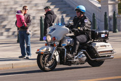 US Capitol Policeman on Motorcycle Stock Photography