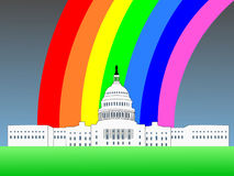US capitol with rainbow Royalty Free Stock Photos
