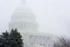 US Capitol During Snowstorm Royalty Free Stock Photo