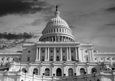US Capitol Sunset Sky in Black and White Stock Photography