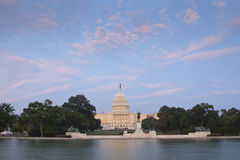US Capitol ultra wide view from reflecting pool Stock Photo