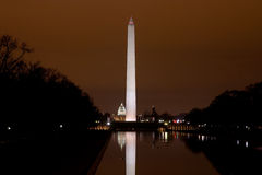 US Capitol and Washington Monument in the darkness Royalty Free Stock Image