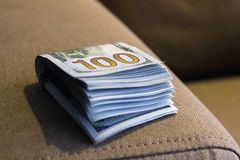 US cash money of Hundred banknotes bills stock image