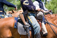 US Cavalry. Historical US Cavalry soldiers on horseback with period equipment royalty free stock image