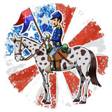 US Cavalry. Cartoon-style illustration: United States Cavalry soldier riding his horse. American grunge flag on the background Stock Image