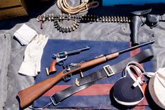 US Cavalry Historical Gear. Authentic gear of the US Cavalry during the late 1800's during America's Indian Wars royalty free stock photos