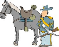 US cavalry officer and his horse Stock Photo
