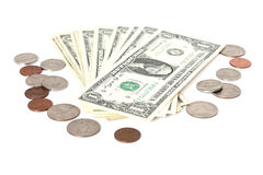 US cents and dollars Stock Image