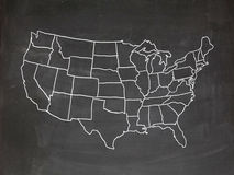 US chalkboard. Map of the US drawn on a chalkboard vector illustration