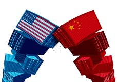 US China Tariff Dispute. Trade war and United States or American as two groups of opposing cargo containers as an economic taxation conflict over import and vector illustration