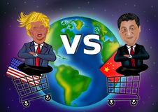 US China Trade War Illustration Concept. Vector image of Trade War between US and China illustrated by hands, shopping carts and flags represent the countries stock illustration