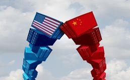 US China Trade War. And United States or American tariffs as two groups of opposing cargo containers as an economic taxation dispute over import and exports royalty free illustration