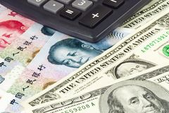 US and Chinese currency. Pair used in forex trading with calculator