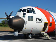 US Coast Guard C-130 patrol airplane royalty free stock photo