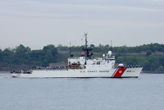 US Coast Guard Cutter Campbell of the United States Coast Guard  during parade of ships at  Fleet Week 2014 Royalty Free Stock Photo