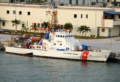 US Coast Guard cutter docked in Miami. Miami, USA - December 6, 2008: US Coast Guard Cutter Drummond in its home port of Miami, Florida. The US Coast Guard Royalty Free Stock Images