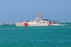 US Coast Guard Cutter. A United States Coast Guard cutter patrolling the shores of Key West, Florida Royalty Free Stock Image