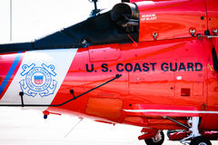 US Coast Guard Helicopter. US Coast Guard Logo on the tail end of a Coast Guard Dolphin Helicopter Royalty Free Stock Photos