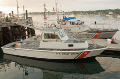 US Coast Guard patrol boats. A view of two US Coast Guard patrol boats docked at Southwest Harbor, Maine Royalty Free Stock Photo