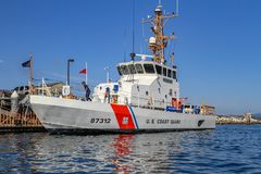 US Coast Guard ship moored to the quay stock image