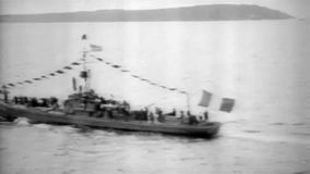 1919 - US coast guard ship on sea stock video footage