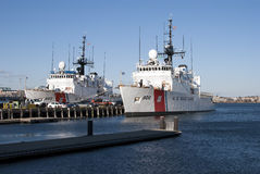 US Coast Guard ships, Boston, MA. US Coast Guard ships at Battery Wharf, Boston royalty free stock photography