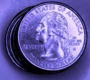 US coins. Shot of US coins with purple tint Stock Photography