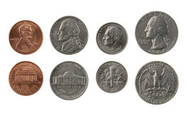 US Coins Collection Isolated on White. Obverse and reverse royalty free stock photography