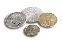 US coins, isolated Royalty Free Stock Images
