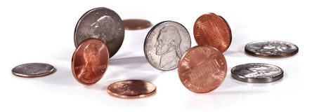 US Coins On White Royalty Free Stock Photos
