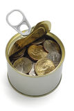 US coins in open tin can Royalty Free Stock Photo
