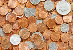 US Coins. Pile of the US coins stock photography