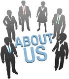 About Us company website people icon. Business people on company website About Us information royalty free illustration