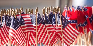 US Confederate Flags. Close up of US Flags including Confederate royalty free stock photography