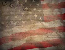 US Constitution. US Flag and Constitution as patriotic background Stock Image