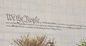 US constitution. 'We the people' Inscribed on wall of national constitution center philadelphia Stock Image