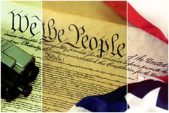 US Constitution with Hand Gun - Right To Keep and Bear Arms. US Constitution Bill of Rights with hand gun - History of the Second Amendment Royalty Free Stock Photo