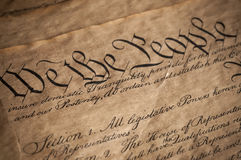 US Constitution. Closeup of the US constitution Royalty Free Stock Photography