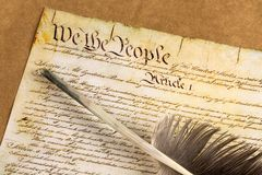 US Constitution. Declaration Of Independence Quill Pen USA Government Preamble to the Constitution Independence Stock Image