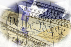 US constitution We the People, American flag and one hundred dollar bill. Finance, economics and government concept Stock Photography