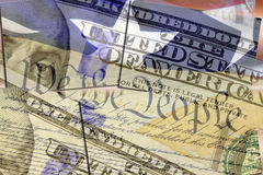 US constitution We the People, American flag and one hundred dollar bill. Finance, economics and government concept Royalty Free Stock Image