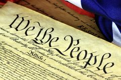 US Constitution - We The People with American Flag Royalty Free Stock Photos