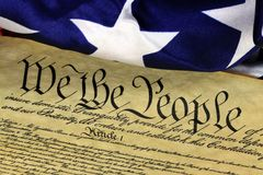 US Constitution - We The People with American Flag Royalty Free Stock Photo