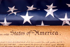 US Constitution - We The People   with USA  Flag. Royalty Free Stock Photography