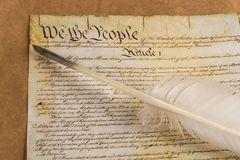 Us constitution. Declaration of independence quill pen usa government preamble to the constitution independence Stock Photos