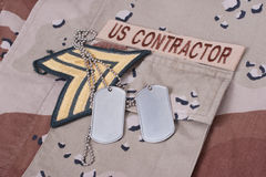 Us contractor uniform with dog tag Stock Photography