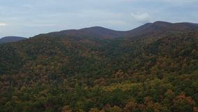 US Countryside Aerial. V9 Flying low over autumn rolling hills panning near Helen GA stock video