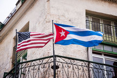 US and Cuban flags side by side in Havana Stock Images