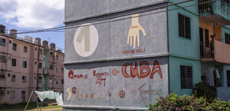 US-Cuban relations: Wall in Cuba shows diplomatic handshake between countries Stock Photography